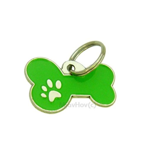 Custom personalized dog name tag BONE MJAVHOV GREEN