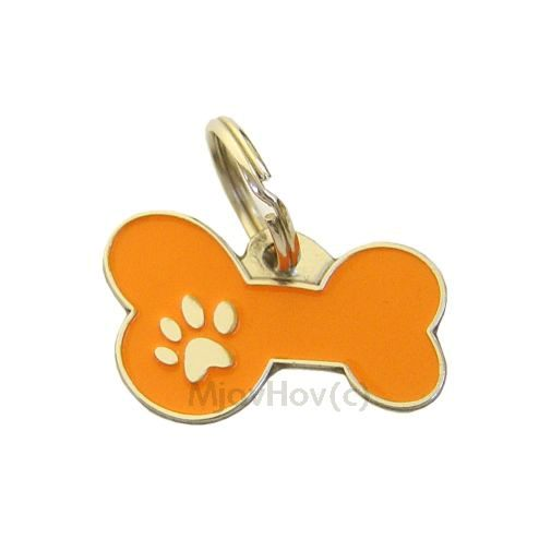 Custom personalized dog name tag BONE MJAVHOV ORANGE Color: colored/silver  Dim: 34 x 21 mm Engraving area:  27 x 7 mm Metal, chrome plated pet tag.   Personalized laser engraving on the back side included.  Hand made  MADE IN SLOVENIA  In stock.