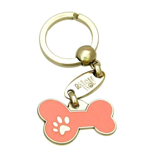 Custom personalized dog name tag BONE MJAVHOV PINK Color: colored/silver  Dim: 34 x 21 mm Engraving area:  27 x 7 mm Metal, chrome plated pet tag.   Personalized laser engraving on the back side included.  Hand made  MADE IN SLOVENIA  In stock.
