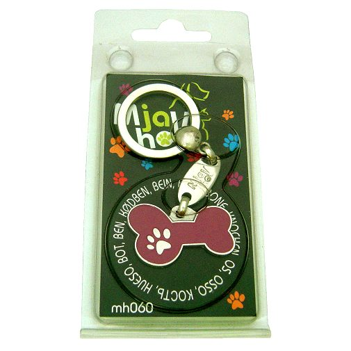 Custom personalized dog name tag BONE MJAVHOV PURPLE Color: colored/silver  Dim: 34 x 21 mm Engraving area:  27 x 7 mm Metal, chrome plated pet tag.   Personalized laser engraving on the back side included.  Hand made  MADE IN SLOVENIA  In stock.