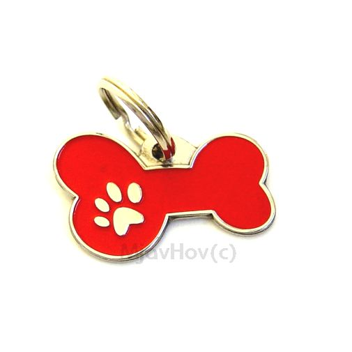 Custom personalized dog name tag BONE MJAVHOV RED Color: colored/silver  Dim: 34 x 21 mm Engraving area:  27 x 7 mm Metal, chrome plated pet tag.   Personalized laser engraving on the back side included.  Hand made  MADE IN SLOVENIA  In stock.