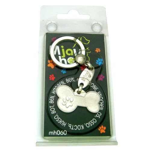 Custom personalized dog name tag METAL BONE MJAVHOV Color: colored/silver  Dim: 34 x 21 mm Engraving area:  27 x 7 mm Metal, chrome plated pet tag.   Personalized laser engraving on the back side included.  Hand made  MADE IN SLOVENIA  In stock.