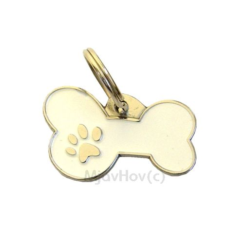 Custom personalized dog name tag BONE MJAVHOV WHITE Color: colored/silver  Dim: 34 x 21 mm Engraving area:  27 x 7 mm Metal, chrome plated pet tag.   Personalized laser engraving on the back side included.  Hand made  MADE IN SLOVENIA  In stock.