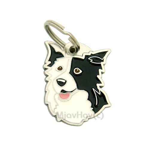 Custom personalized dog name tag BORDER COLLIE BLACK EAR Color: colored/silver  Dim:  25 x 32 mm Engraving area:  18 x 18 mm Metal, chrome plated pet tag.   Personalized laser engraving on the back side included.  Hand made  MADE IN SLOVENIA  In stock.