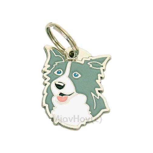 Custom personalized dog name tag BORDER COLLIE BLUE Color: colored/silver  Dim: 25 x 32 mm Engraving area:  18 x 18 mm Metal, chrome plated pet tag.   Personalized laser engraving on the back side included.  Hand made  MADE IN SLOVENIA  In stock.