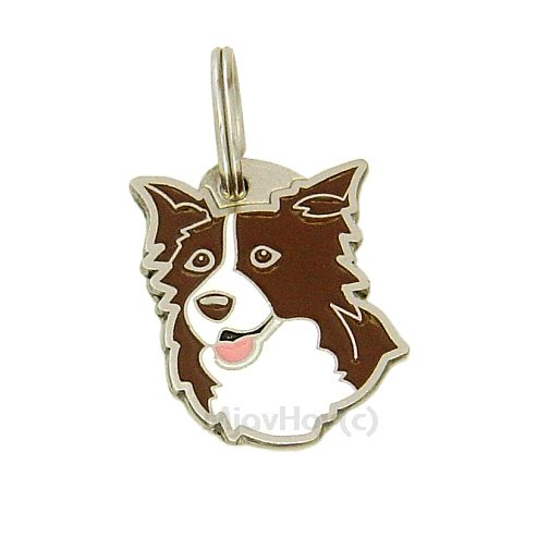 Custom personalized dog name tag BORDER COLLIE BROWN  Color: colored/silver  Dim: 25 x 32 mm Engraving area:  18 x 18 mm Metal, chrome plated pet tag.   Personalized laser engraving on the back side included.  Hand made  MADE IN SLOVENIA  In stock.