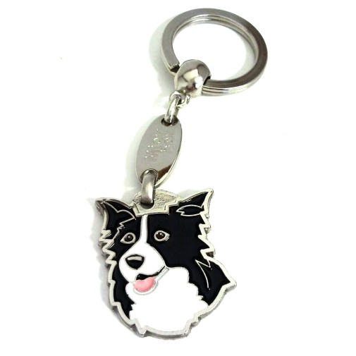 Custom personalized dog name tag BORDER COLLIE Color: colored/silver  Dim: 25 x 32 mm Engraving area:  18 x 18 mm Metal, chrome plated pet tag.   Personalized laser engraving on the back side included.  Hand made  MADE IN SLOVENIA  In stock.