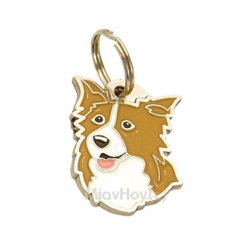 Custom personalized dog name tag BORDER COLLIE ORANGE Color: colored/silver  Dim: 25 x 32 mm Engraving area:  18 x 18 mm Metal, chrome plated pet tag.   Personalized laser engraving on the back side included.  Hand made  MADE IN SLOVENIA  In stock.
