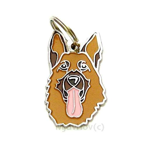 Custom personalized dog name tag GERMAN SHEPHERD DOG Color: colored/silver  Dim: 23 x 39 mm Engraving area:  18 x 20 mm Metal, chrome plated pet tag.   Personalized laser engraving on the back side included.  Hand made  MADE IN SLOVENIA  In stock.
