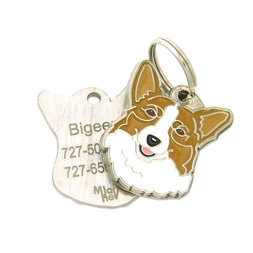 Custom personalized dog name tag WELSH CORGI RED Color: colored/silver  Dim: 26 x 31 mm Engraving area:  17 x 17 mm Metal, chrome plated pet tag.   Personalized laser engraving on the back side included.  Hand made  MADE IN SLOVENIA  In stock.
