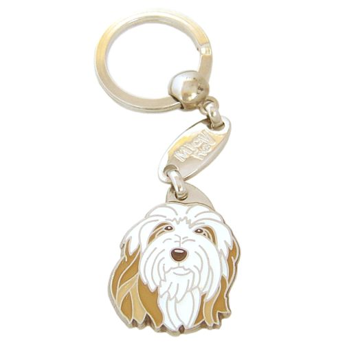 Custom personalized dog name tag BEARDED COLLIE FAWN Color: colored/silver  Dim: 26 x 35 mm Engraving area:  20 x 20 mm Metal, chrome plated pet tag.   Personalized laser engraving on the back side included.  Hand made  MADE IN SLOVENIA  In stock.
