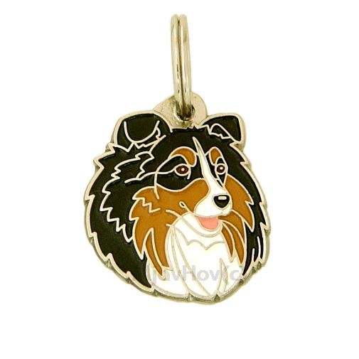 Custom personalized dog name tag SHETLAND SHEEPDOG TRICOLOR Color: colored/silver  Dim: 28 x 33 mm Engraving area:  21 x 20 mm Metal, chrome plated pet tag.   Personalized laser engraving on the back side included.  Hand made  MADE IN SLOVENIA  In stock.