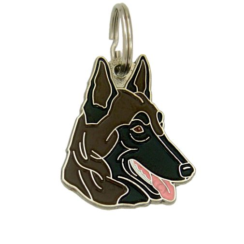 Custom personalized dog name tag BELGIAN SHEPHERD, MALINOIS DARK BROWN