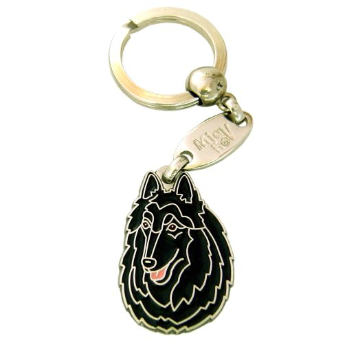 Custom personalized dog name tag BELGIAN SHEPHERD, GROENENDAEL Color: colored/silver  Dim: 38 x 26 mm Engraving area:  20 x 20 mm Metal, chrome plated pet tag.   Personalized laser engraving on the back side included.  Hand made  MADE IN SLOVENIA  In stock.
