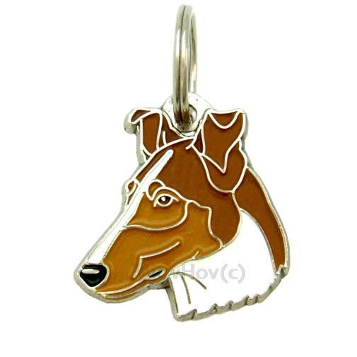Custom personalized dog name tag SMOOTH COLLIE SABLE Color: colored/silver  Dim:  29 x 31 mm Engraving area:  19 x 12 mm Metal, chrome plated pet tag.   Personalized laser engraving on the back side included.  Hand made  MADE IN SLOVENIA  In stock.