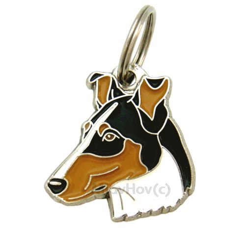 Custom personalized dog name tag COLLIE SMOOTH TRICOLOR Color: colored/silver  Dim:  29 x 31 mm Engraving area:  19 x 12 mm Metal, chrome plated pet tag.   Personalized laser engraving on the back side included.  Hand made  MADE IN SLOVENIA  In stock.
