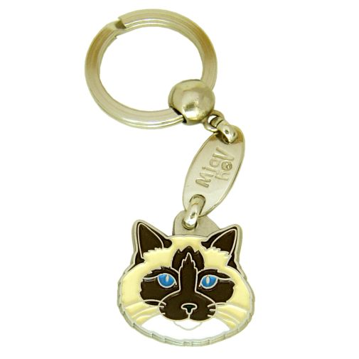 Custom personalized cat name tag Ragdoll cat seal point mitted Color: colored/silver  Dim:  28 x 28 mm Engraving area:  20 x 15 mm Metal, chrome plated pet tag.   Personalized laser engraving on the back side included.  Hand made  MADE IN SLOVENIA  In stock.