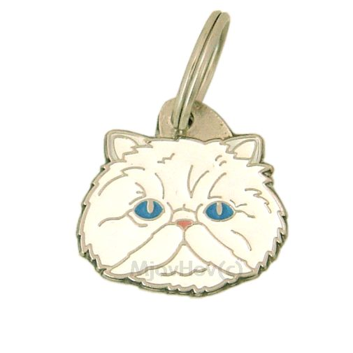 Custom personalized cat name tag Persian cat white Color: colored/silver  Dim: 27 x 26 mm Engraving area:  20 x 15 mm Metal, chrome plated pet tag.   Personalized laser engraving on the back side included.  Hand made  MADE IN SLOVENIA  In stock.