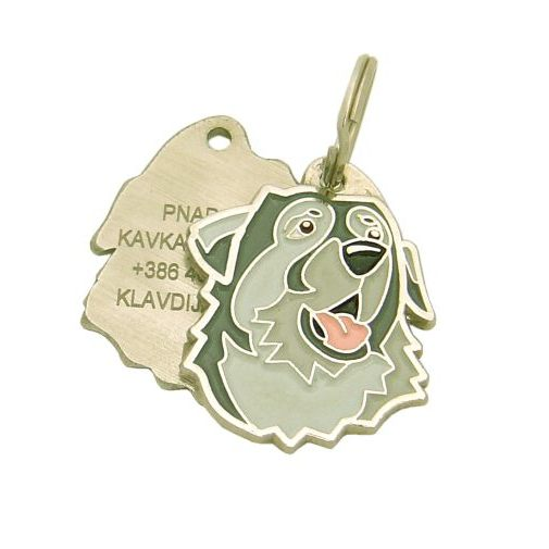 Custom personalized dog name tag KARST SHEPHERD Color: colored/silver  Dim: 30 x 35 mm Engraving area:  20 x 20 mm Metal, chrome plated pet tag.   Personalized laser engraving on the back side included.  Hand made  MADE IN SLOVENIA  In stock.