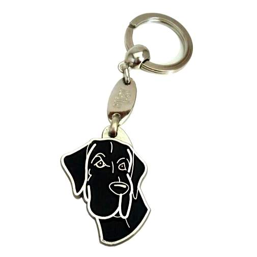 Custom personalized dog name tag GREAT DANE BLACK Color: colored/silver  Dim: 30 x 40 mm Engraving area:  18 x 20 mm Metal, chrome plated pet tag.   Personalized laser engraving on the back side included.  Hand made  MADE IN SLOVENIA  In stock.