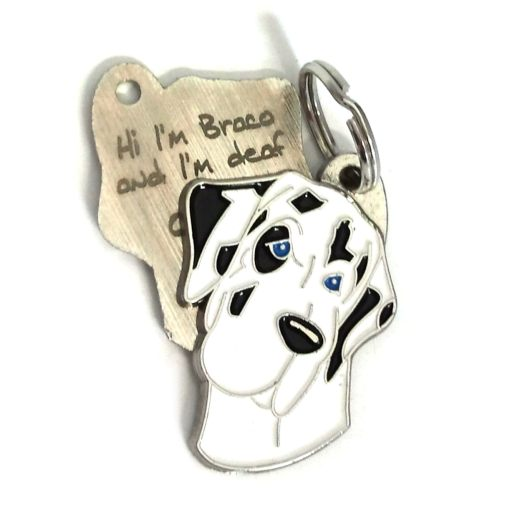 Custom personalized dog name tag GREAT DANE HARLEQUIN Color: colored/silver  Dim: 30 x 40 mm Engraving area:  18 x 20 mm Metal, chrome plated pet tag.   Personalized laser engraving on the back side included.  Hand made  MADE IN SLOVENIA  In stock.