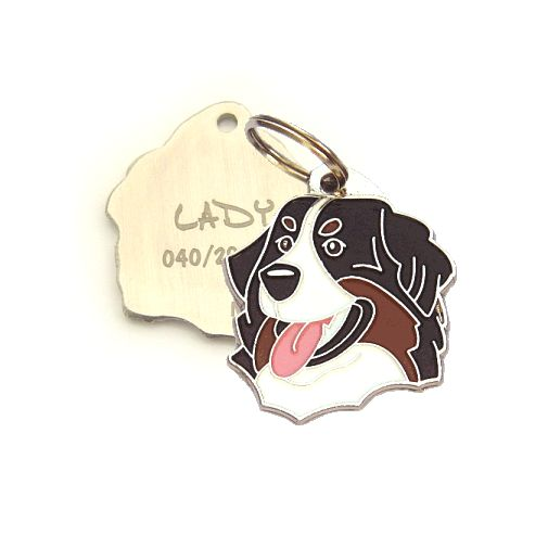 Custom personalized dog name tag BERNESE MOUNTAIN DOG Color: colored/silver  Dim: 33 x 32 mm Engraving area:  25 x 20 mm Metal, chrome plated pet tag.   Personalized laser engraving on the back side included.  Hand made  MADE IN SLOVENIA  In stock.