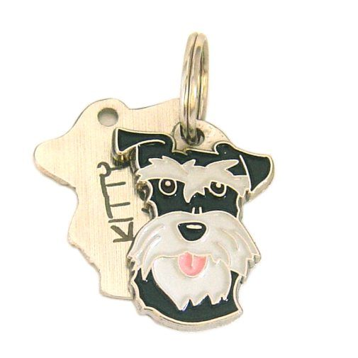 Custom personalized dog name tag SCHNAUZER BLACK SILVER Color: colored/silver  Dim: 24 x 33 mm Engraving area:  20 x 11 mm Metal, chrome plated pet tag.   Personalized laser engraving on the back side included.  Hand made  MADE IN SLOVENIA  In stock.