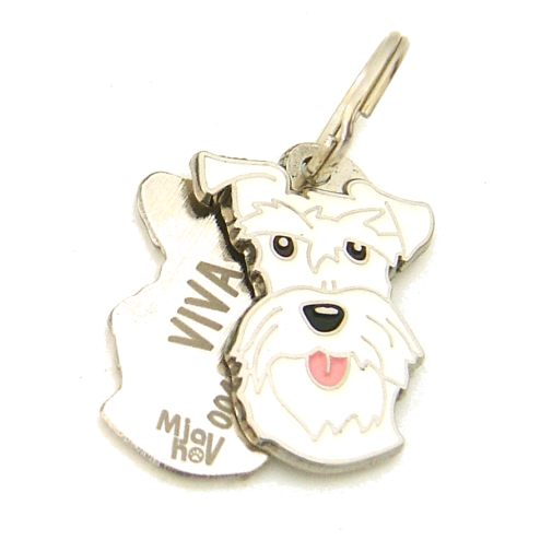 Custom personalized dog name tag SCHNAUZER WHITE Color: colored/silver  Dim: 24 x 33 mm Engraving area:  20 x 11 mm Metal, chrome plated pet tag.   Personalized laser engraving on the back side included.  Hand made  MADE IN SLOVENIA  In stock.