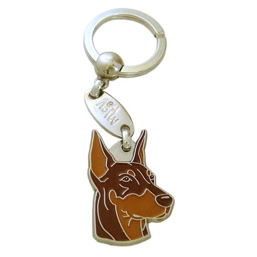 Custom personalized dog name tag DOBERMAN BROWN Color: colored/silver  Dim: 38 x 25 mm Engraving area:  17 x 17 mm Metal, chrome plated pet tag.   Personalized laser engraving on the back side included.  Hand made  MADE IN SLOVENIA  In stock.