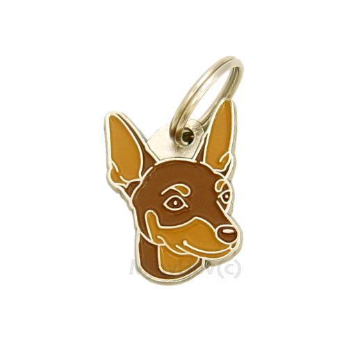 Custom personalized dog name tag MINIATURE PINSCHER RED BROWN Color: colored/silver  Dim:  22 x 30 mm Engraving area:  17 x 12 mm Metal, chrome plated pet tag.   Personalized laser engraving on the back side included.  Hand made  MADE IN SLOVENIA  In stock.