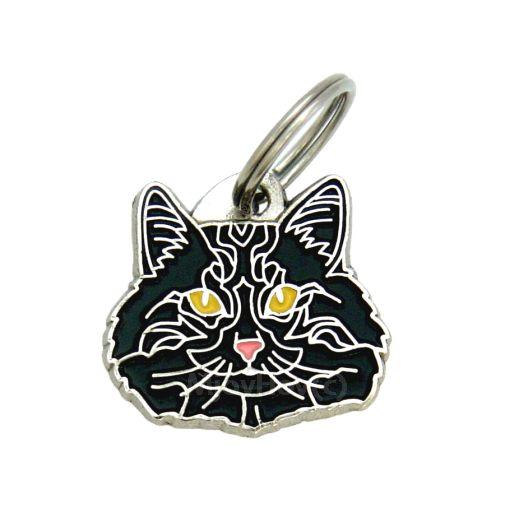 Norwegian Forest cat black | Pet tags MjavHov - pet ID tags