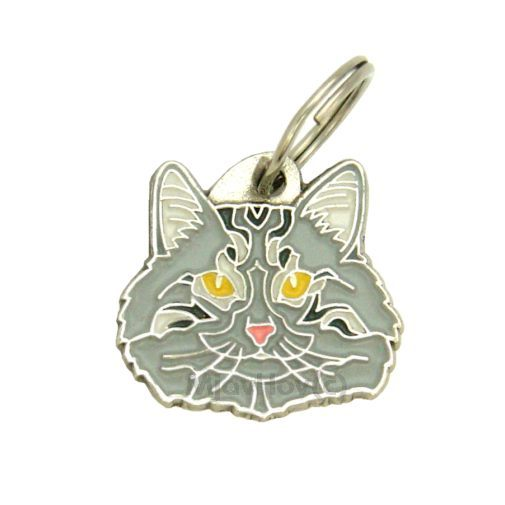 Norwegian Forest cat grey   Pet tags MjavHov - pet ID tags online shop