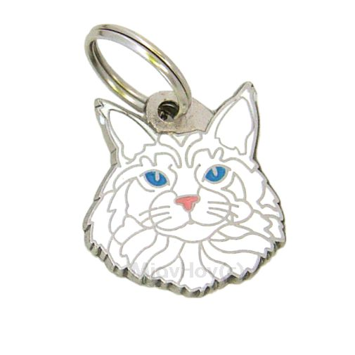 Custom personalized cat name tag Maine Coon white Color: colored/silver  Dim: 28 x 26 mm Engraving area:  20 x 12 mm Metal, chrome plated pet tag.   Personalized laser engraving on the back side included.  Hand made  MADE IN SLOVENIA  In stock.