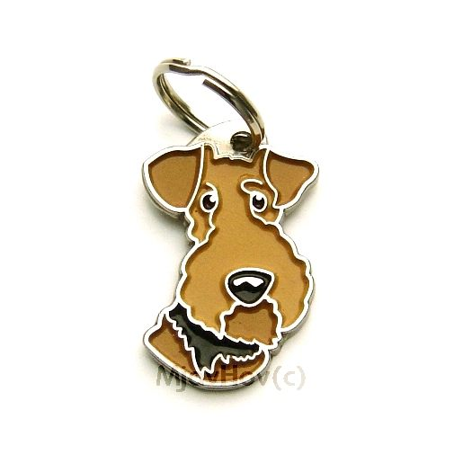 Custom personalized dog name tag AIREDALE TERRIER Color: colored/silver  Dim: 22 x 35 mm Engraving area:  21 x 9 mm Metal, chrome plated pet tag.   Personalized laser engraving on the back side included.  Hand made  MADE IN SLOVENIA  In stock.