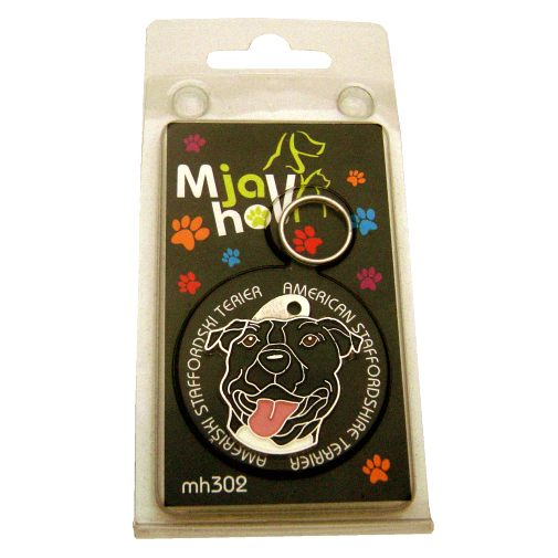 Custom personalized dog name tag AMERICAN STAFFORDSHIRE TERRIER BLACK Color: colored/silver  Dim:  32 x 33 mm Engraving area:  20 x 19 mm Metal, chrome plated pet tag.   Personalized laser engraving on the back side included.  Hand made  MADE IN SLOVENIA  In stock.