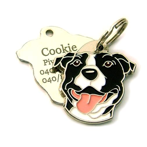 Custom personalized dog name tag AMERICAN STAFFORDSHIRE TERRIER Color: colored/silver  Dim: 32 x 33 mm Engraving area:  20 x 19 mm Metal, chrome plated pet tag.   Personalized laser engraving on the back side included.  Hand made  MADE IN SLOVENIA  In stock.