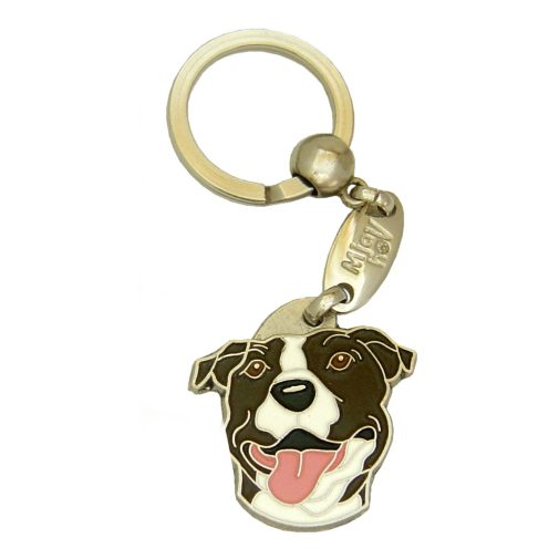 Custom personalized dog name tag AMERICAN STAFFORDSHIRE TERRIER WHITE BRINDLE