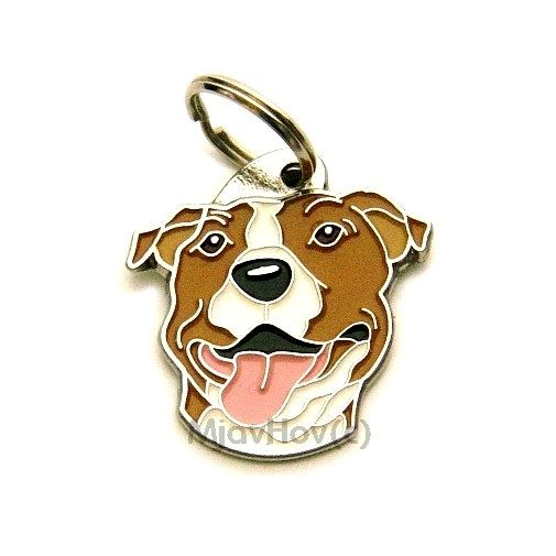 Custom personalized dog name tag AMERICAN STAFFORDSHIRE TERRIER WH/BR Color: colored/silver  Dim: 32 x 33 mm Engraving area:  20 x 19 mm Metal, chrome plated pet tag.   Personalized laser engraving on the back side included.  Hand made  MADE IN SLOVENIA  In stock.