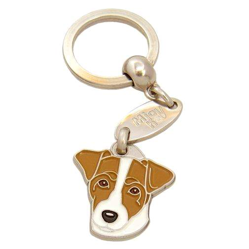 Custom personalized dog name tag RUSSELL TERRIER WHITE AND BROWN Color: colored/silver  Dim: 28 x 29 mm Engraving area:  17 x 12 mm Metal, chrome plated pet tag.   Personalized laser engraving on the back side included.  Hand made  MADE IN SLOVENIA  In stock.