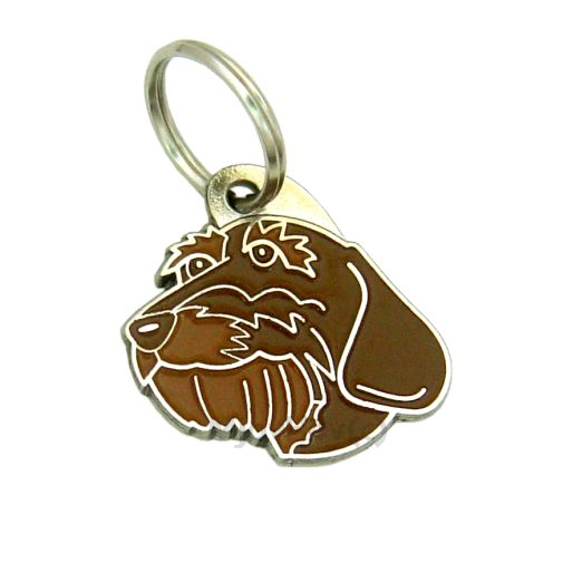 Custom personalized dog name tag DACHSHUND WIRE-HAIRED BROWN