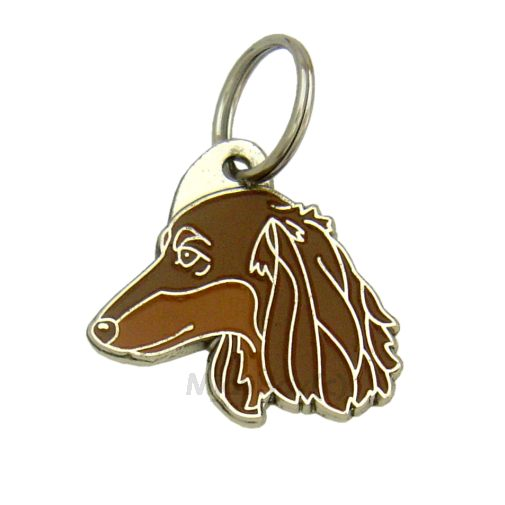 Custom personalized dog name tag DACHSHUND LONGHAIRED BROWN
