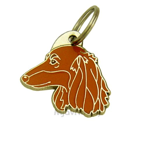 Custom personalized dog name tag DACHSHUND LONGHAIRED RED