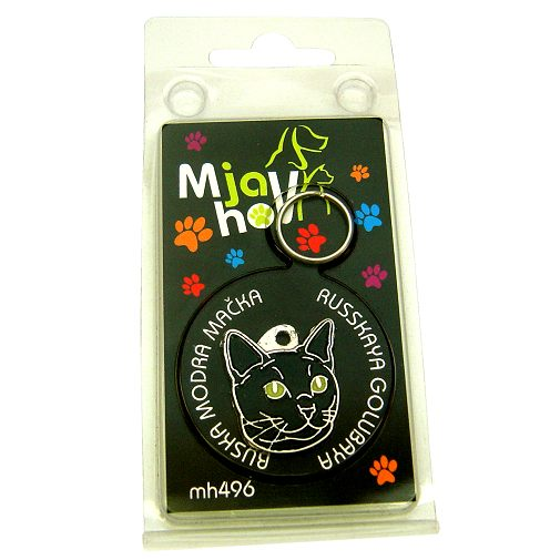Custom personalized cat name tag RUSSIAN BLACK CAT