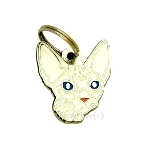 Custom personalized cat name tag DEVON REX WHITE