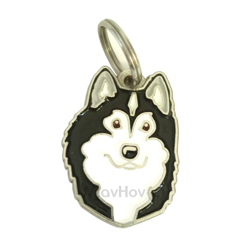 Custom personalized dog name tag ALASKAN MALAMUTE BLACK AND WHITE Color: colored/silver  Dim:  26 x 35 mm Engraving area:  22 x 23 mm Metal, chrome plated pet tag.   Personalized laser engraving on the back side included.  Hand made  MADE IN SLOVENIA  In stock.
