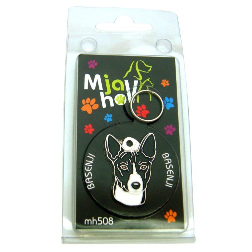 Custom personalized dog name tag BASENJI BLACK AND WHITE Color: colored/silver  Dim:  34 x 24 mm Engraving area:  20 x 14 mm Metal, chrome plated pet tag.   Personalized laser engraving on the back side included.  Hand made  MADE IN SLOVENIA  In stock.