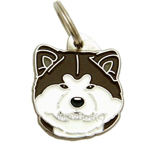 Custom personalized dog name tag AKITA INU WHITE BRINDLE Color: colored/silver  Dim:  29 x 33 mm Engraving area:  22 x 20 mm Metal, chrome plated pet tag.   Personalized laser engraving on the back side included.  Hand made  MADE IN SLOVENIA  In stock.
