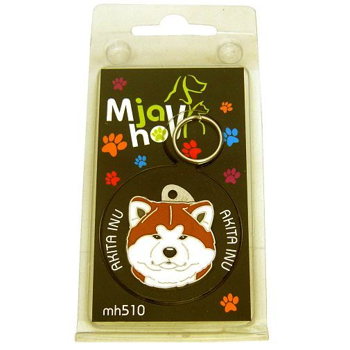 Custom personalized dog name tag AKITA INU Color: colored/silver  Dim:  29 x 33 mm Engraving area:  22 x 20 mm Metal, chrome plated pet tag.   Personalized laser engraving on the back side included.  Hand made  MADE IN SLOVENIA  In stock.