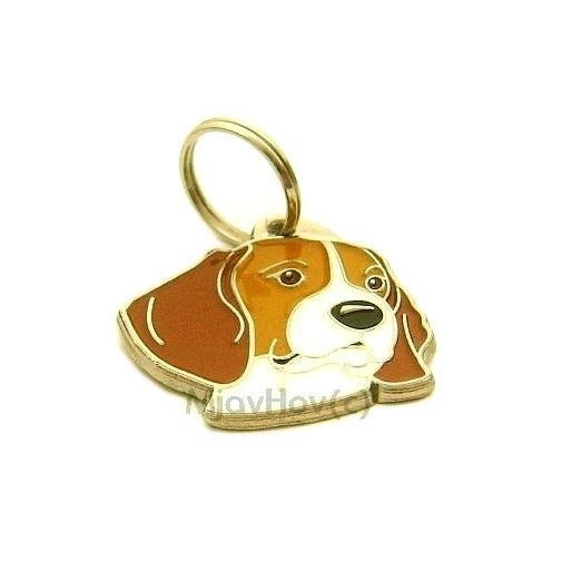 Custom personalized dog name tag BEAGLE Color: colored/silver  Dim: 33 x 32 mm Engraving area:  19 x 16 mm Metal, chrome plated pet tag.   Personalized laser engraving on the back side included.  Hand made  MADE IN SLOVENIA  In stock.
