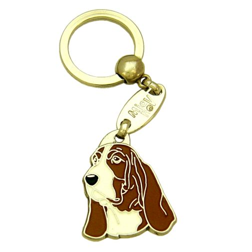 Custom personalized dog name tag BASSET HOUND BROWN